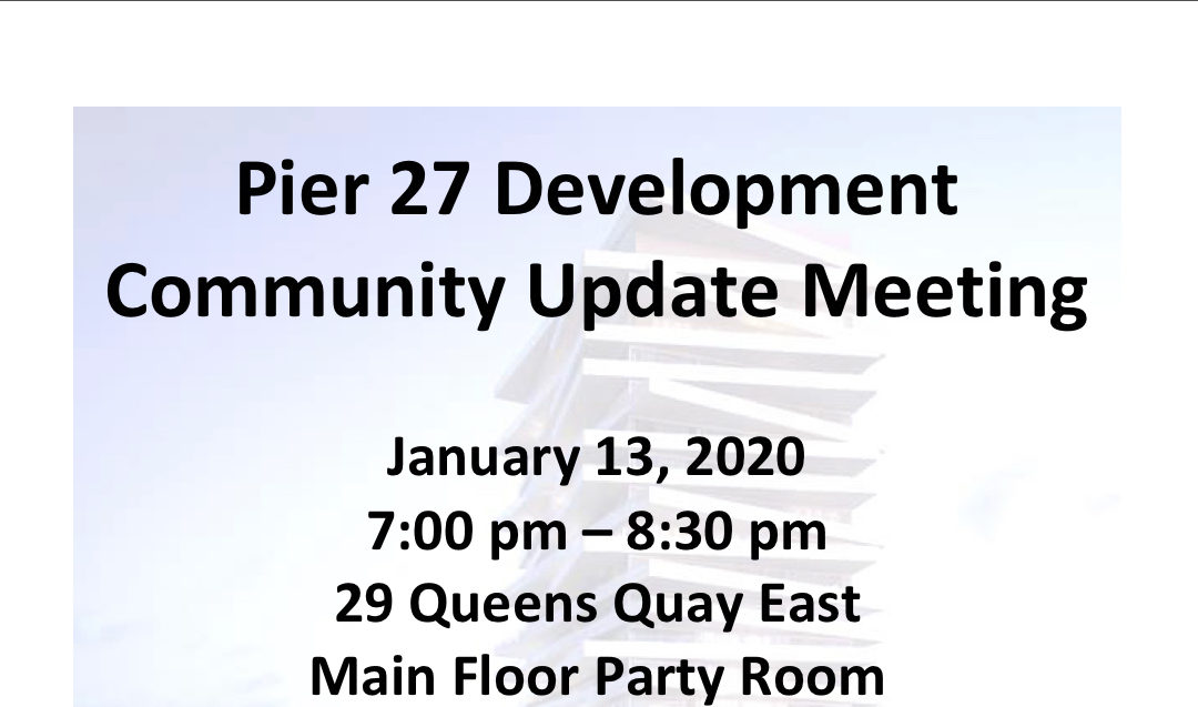 January 13 Pier 27 Development Community Update Meeting